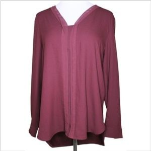Ann Taylor V Neck Sheer Hi Low Pleated Top Maroon